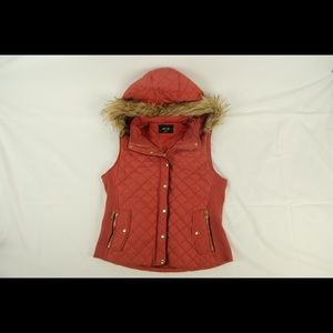 Active USA Quilted Vest Faux Hood - Dusty Pink - M